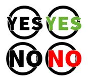 Yes, No icons in a circle on the white background Royalty Free Stock Image