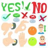 Yes or No icons set, cartoon style Stock Image