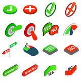 Yes or No icons set, isometric 3d style Royalty Free Stock Photo