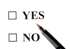 Yes Or No. Icons yes or no and stick isolated on white background Stock Image