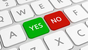Yes or No keys on modern keyboard Royalty Free Stock Photos