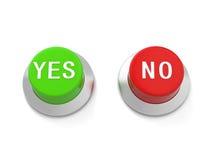 Yes&no knapp Arkivbild