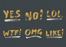 YES, NO, LIKE, LOL, OMG and WTF lettering handwritten signs set, Hand drawn grunge calligraphic text. Vector illustration.  Royalty Free Stock Photography