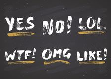 YES, NO, LIKE, LOL, OMG and WTF lettering handwritten signs set, Hand drawn grunge calligraphic text. Vector illustration on chalk. Board background Royalty Free Stock Images