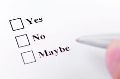 Yes, No, Maybe. Making your decision. About to choose between yes, no, maybe Royalty Free Stock Photo