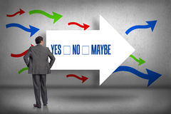Yes no maybe against arrows pointing. The word yes no maybe and businessman with hands on hips against arrows pointing Stock Photography