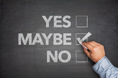 Yes, No or -maybe on Blackboard Stock Photos