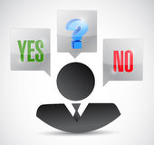 Yes no maybe business decision illustration Stock Images