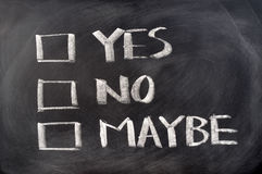 Yes, no and maybe check boxes. Written on blackboard Royalty Free Stock Photography