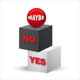 Yes, no, maybe, 3d sign. In vector format Stock Photos