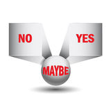 Yes, no, maybe, 3d sign. In vector format Stock Photography