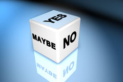 Yes, no, maybe dice. 3d dice with yes no and maybe on three sides Stock Images