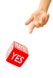 Yes, no, maybe dice. Hand throwing dice with various outcomes Stock Photos