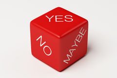 Yes No Maybe Dice. On white Background Royalty Free Stock Photography