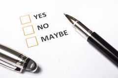 Yes no or maybe. Form Stock Photography