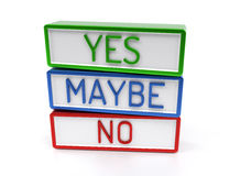 Yes No Maybe - High quality 3D Render Royalty Free Stock Image