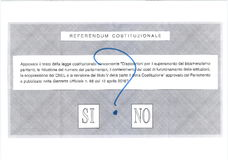 YES NO MAYBE Italian ballot paper. YES NO MAYBE ballot paper for Italian Referendum, 4 December 2016ntranslation: Referendum - Do you approve the constitutional Stock Image