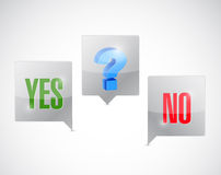 Yes, no and maybe option clouds illustration. Design over a white background Royalty Free Stock Photography