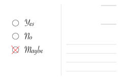 Yes no maybe on postcard Stock Photo