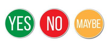 YES, NO, MAYBE red green yellow left right word text on circular vote round buttons signs for poll or evaluation royalty free illustration