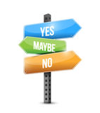Yes no maybe road sign illustration design. Over white Royalty Free Stock Images