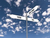 Yes no and maybe sign. Directional road sign with the options of yes, no and maybe, cloudscape background Stock Images