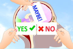 Yes No maybe Sign in hand in brain background. Yes No Sign in hand in brain background for business  card web design art related background Royalty Free Stock Image