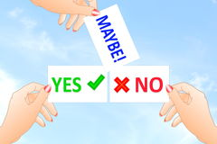 Yes No maybe Sign in hand  Royalty Free Stock Photo