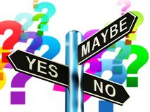 Yes No Maybe Signpost Shows Voting Decision 3d Illustration stock illustration