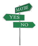 Yes No Maybe Signpost Royalty Free Stock Image