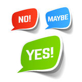 Yes, No and Maybe speech bubbles. Illustration Royalty Free Stock Photography