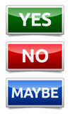 Yes, No, Maybe - three colorful sign with reflection and shadow Royalty Free Stock Photo