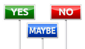 Yes, No, Maybe - three colorful traffic sign isolated on white b Stock Photography