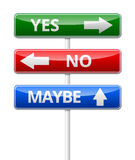Yes, No, Maybe - three colorful traffic sign with way isolated o Stock Photo