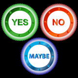 Yes No and Maybe - Three Signs Stock Photos