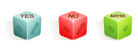 Yes - no - maybe / vector illustration. Of dice with 3 options / 3 colors Royalty Free Stock Photo