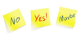 Yes / No / Maybe / yellow note pages / vector Royalty Free Stock Photography