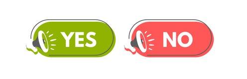 Yes and No megaphone labels. Vector illustration for design or print.  royalty free illustration