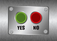 Yes no metal button Royalty Free Stock Images