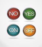 Yes no on off tick 3D buttons. Yes no on off 3D realistic buttons for webpage Stock Images