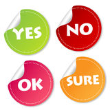 Yes, No, Ok and Sure stickers Stock Images
