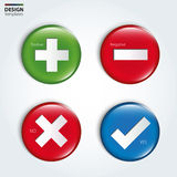 Yes, No, Positive and Negative check buttons. Stock Images