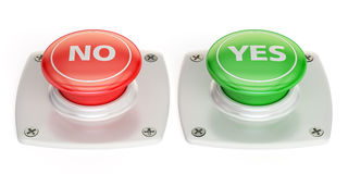 Yes and no push button, 3D rendering Stock Photos