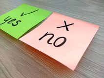 Yes or no question message on sticky notes with focus on no on wooden background. Rejection and failure concept. Yes or no question message on sticky notes with stock image