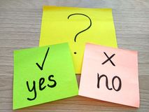 Yes or no question message on sticky notes on wooden table background. Problem solving and choice concept stock photography