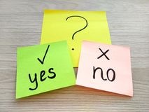 Yes or no question message on sticky notes on wooden background. Problem solving and choice concept. Yes or no question message on sticky notes on wooden table royalty free stock photography