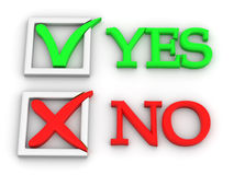 Yes or No. Questionnaire. 3d Very beautiful three-dimensional illustration Stock Photography