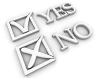 Yes or No. Questionnaire. 3d Very beautiful three-dimensional illustration Stock Image