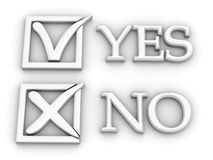 Yes or No. Questionnaire. 3d Very beautiful three-dimensional illustration Royalty Free Stock Photo