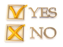 Yes or No. Questionnaire. 3d Very beautiful three-dimensional illustration Royalty Free Stock Images